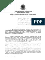 ORIENTAÇÃO NORMATIVA 2 - 2007 - Estabelece orientação sobre o pagamento da vantagem quintos