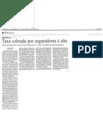 Taxa cobrada por seguradoras é alta - May2003 - Gazeta Mercantil