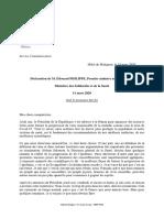 Declaration du Premier Ministre Edouard Philippe sur le Covid-19 - 14.03.2020