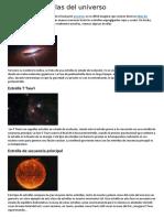 Tipos de estrellas del universo