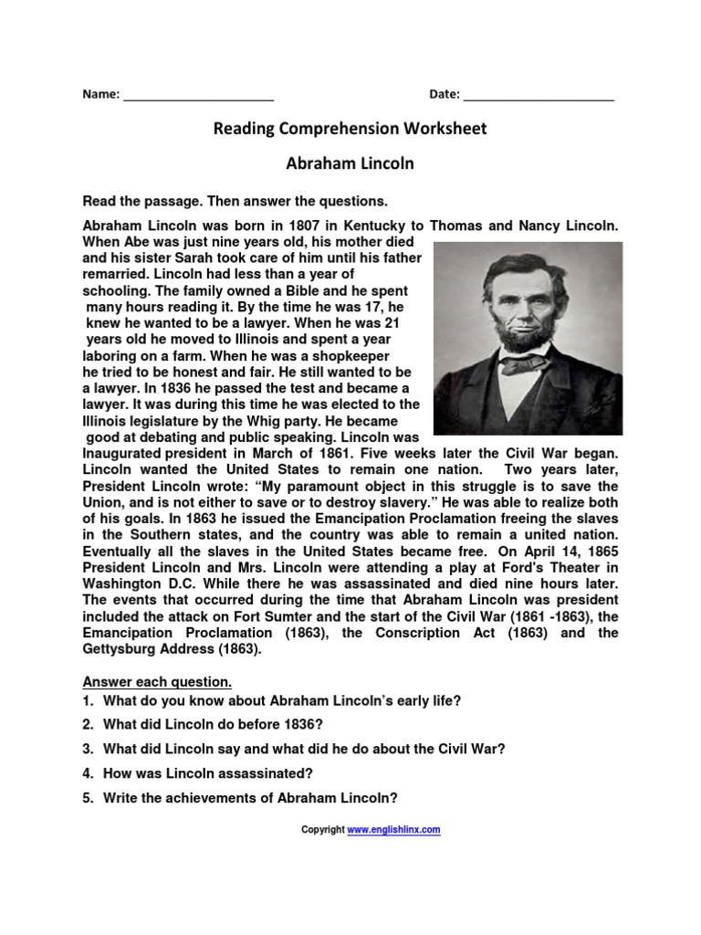 Reading Comprehension Worksheet Abraham Lincoln Abraham Lincoln Emancipation Proclamation
