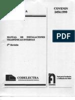 COVENIN 2454-99 Instalaciones Telefónicas