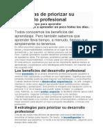 8 maneras de priorizar su desarrollo profesional