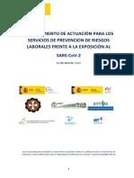 Procedimiento para los servicios de prevención de riesgos laborales frente a la exposición al SARS-CoV-2 (COVID-19) 30.04.2020