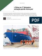 ARTIGO_Exportação da China no 1º bimestre despenca; importação perde ritmo por coronavírus _ Mundo _ G1