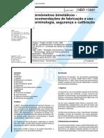 NBR 13881 - Termometros bimetalicos - Recomendacoes de fabricacao e uso - Terminologia seguranca