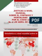 Estadistica a Nivel Mundial sobre el Contagio y Mortalidad por el COVID-19 - Matemáticas - Porf. Jenny Bautista - Alumna Valeria Raga.pptx