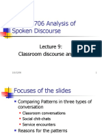 Lecture 9 Classroom Discourse Analysis