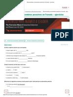 Determinantes y pronombres posesivos en francés – ejercicios