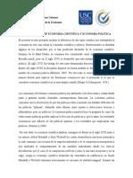 DISTINCION ENTRE ECONOMIA CIENTIFICA Y ECONOMIA POLITICA