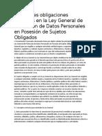 Principales obligaciones previstas en la Ley General de Protección de Datos Personales en Posesión de Sujetos Obligados