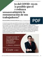 Reducción unilateral de la remuneración - COVID 19 - Bismarck Seminario