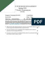 2nd Hourly Exam Spring 2020 MAN 418 U.doc