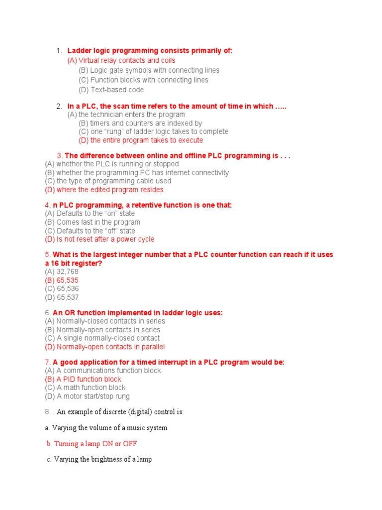 Ladder Logic Programming Consists Primarily Of