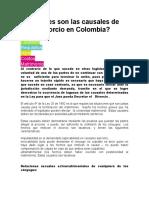 Cuáles son las causales de divorcio en Colombia