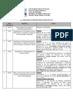 Cronograma de Psicologia e Educação I