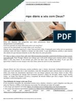 Artigo 'Como vai seu tempo diário a sós com Deus'