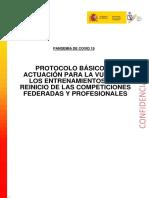 Protocolo Vuelta Al Deporte. Desescalada España. MInisterio Sanidad 2MAY 2020