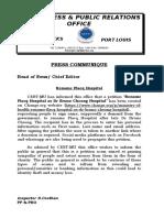 Police Communiqué - Rename Flacq Hospital