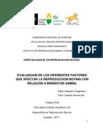 Vasque Chaigneau, G. Evaluación de los diferentes factores que afectan la respoducción ..