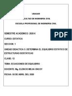 CLASE 12_ECUACIONES DE EQUILIBRIO