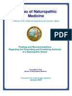 "BNM - ""Findings and Recommendations Regarding the Prescribing and Furnishing Authority of a Naturopathic Doctor"""