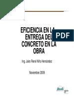 eficiencias en la entrega del concreto en obra