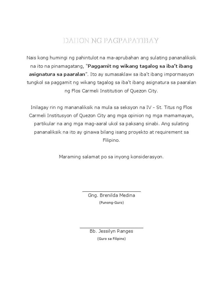 bahagi ng thesis sa filipino 2 Nasabing aklatan a a 2 seryeng panayam ruth elynia mabanglo, isinagawa  filipino ang naging bahagi ng ika-34 na ani, isang.