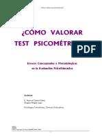 Valoración de  test psicometricos