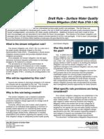 New Ohio Stream Mitigation Rule, December 10, 2010