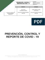 Procedimieno de prevencion , conrol  reporte de COVID  colmedicos