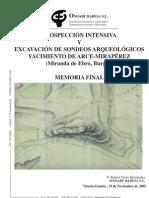 Prospección intensiva y excavación de sondeos arqueológicos. Yacimiento de Arce-Mirapérez (Miranda de Ebro, Burgos). Memoria Final