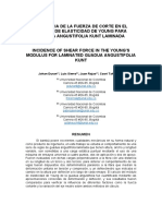 Incidence from shear stress in the Young's Module for laminated Guadua Angustifolia. Johan Duran, Luis Sierra, Juan Rojas, Caori Takeuchi