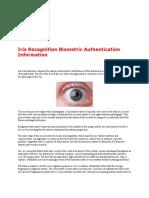 Iris Recognition Biometric Authentication Information