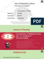 Feature of teaching changes