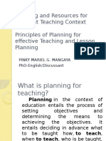 Planning and Resources for Different Teaching Context