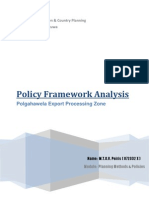 Policy Analysis of Polgahawela Export Processing Zone