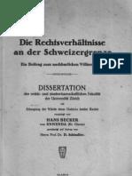 Die Rechtsverhältnisse an Der Schweizergrenze Diss Hans Becker 1931