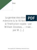 Williams Crookes - La Genèse Des Éléments