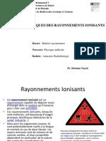 Pr. Naciri  Cours   30  Novembre  EFFETS GENETIQUES DES RAYONNEMENTS IONISANTS (1)