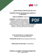 PLAN ACADEMICO Inclusion y Aprendizaje Sostenible  UTPL -PDF-