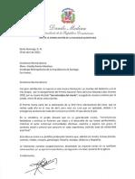 Carta de felicitación del presidente Danilo Medina a monseñor Freddy Bretón Martínez por Premio Nacional Feria del Libro Eduardo León Jimenes 2020