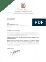 Carta de condolencias del presidente Danilo Medina a Edwin Rafael Dominici Rosario por fallecimiento de su madre, Carmen Victoria Rosario de Dominici