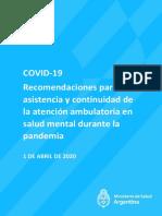 Recomendaciones para la asistencia y continuidad de la atencion ambulatoria en salud mental durante la pandemia