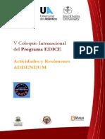 5toColoquio Internacional del Programa EDICE ADDENDUM