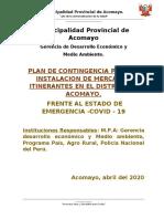 Plan de Contingencia mercados itinerantes