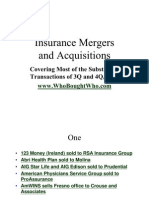 Insurance Mergers Acquisitions Presentation by Claude Penland, Actuary