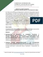 Pronunciamiento Comité Cívico Pro Intereses de Tarija