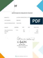 certificado alcohol