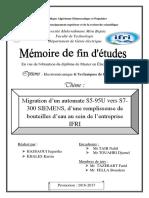 Migration d'un automate S5-95U vers S7- 300 SIEMENS, d'une remplisseuse de bouteilles d'eau au sein de l'entreprise IFRI